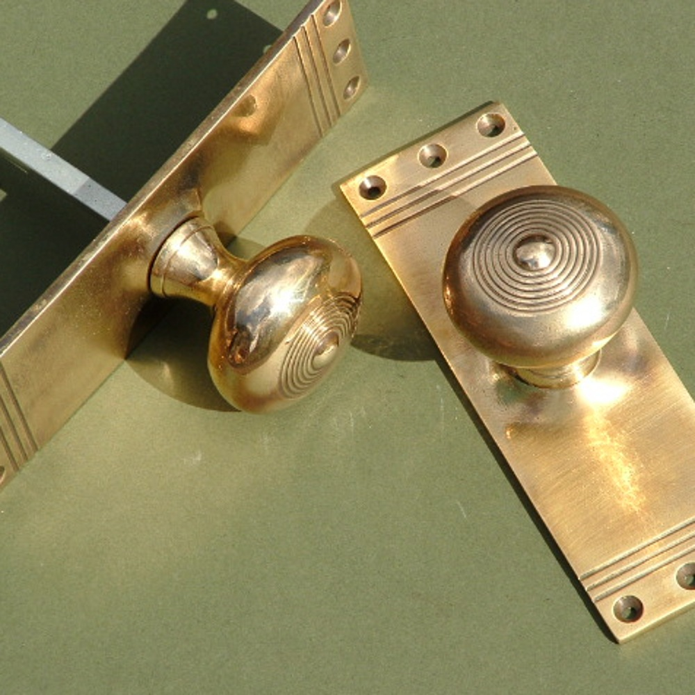 Brass Regency Mortise Knob On Back Plate