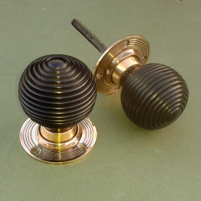Solid Ebony and Brass Beehive Rim or Mortise Door Knobs