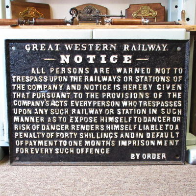 Original Large Vintage Cast Iron Great Western Railway Sign