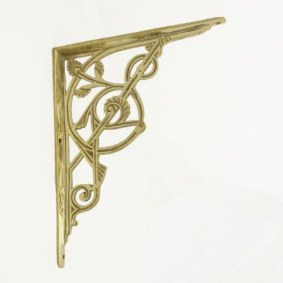 Large Brass Trellis Shelf Brackets