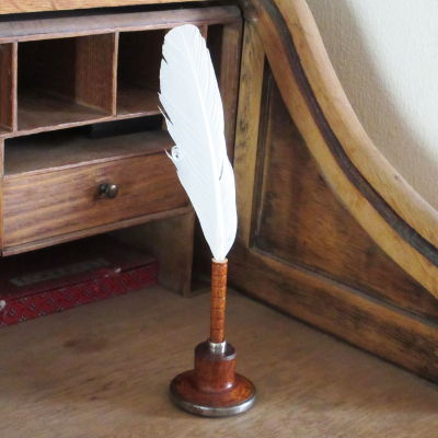 Antique Bobbin Quill Pen in Stand