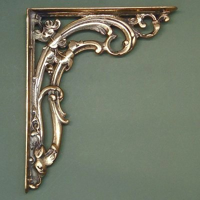 Medium Brass Victorian Scroll Leaf Shelf Brackets