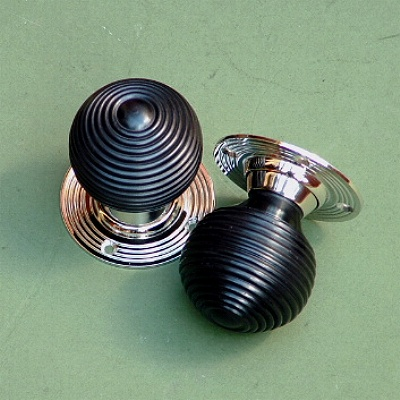 Solid Ebony u0026 Nickel Beehive Rim or Mortise Door Knobs & Door Knobs - Period Door Furniture for Beautiful Homes - Brass ... pezcame.com