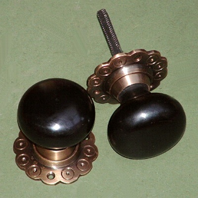 Solid Ebony u0026 Brass Bun Rim or Motise Door Knobs & Door Knobs - Period Door Furniture for Beautiful Homes - Brass ... pezcame.com