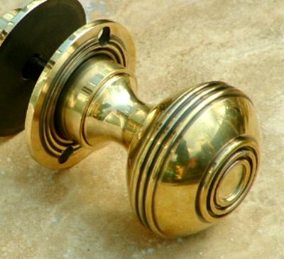 Large Brass Bloxwich Rim or Mortise Door Knobs